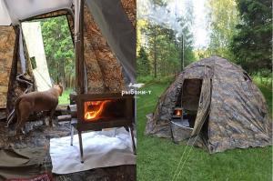 """Походная печь для палатки Берег """"Камин"""" Средняя"""